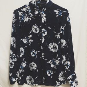 WHBM Blue Floral Blouse Size 0